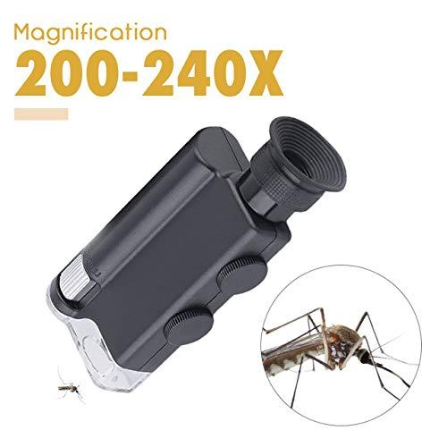 NUEVO Mini bolsillo portátil para microscopio 200X ~ 240X Lámpara LED de mano Luz Lupa Zoom Lupa Lupa Lente de bolsillo (Negro) ESjasnyfall