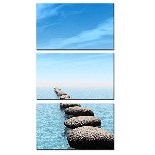 Kreative Arts - Zen Stone Canvas Wall Art Seascape Picture Prints Vertical Triptych Stretched on Wood Frame for Home and Office Decor Wall Hanging 12x20inchx3pcs