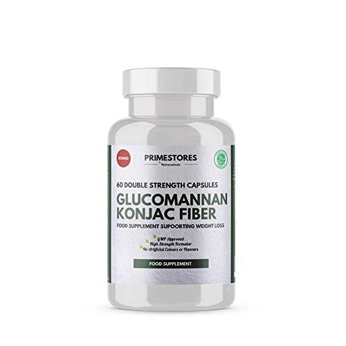 Glucomannan Konjac Fibre Metabolism Tablets 500mg - 60 Weight Loss Powder Capsules - High Strength Halal Keto Diet Pills by Primestores