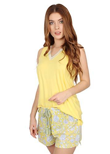 ADMAS Pijama Manga Corta Yellow Hippy para Mujer, Color Amarillo, Talla S