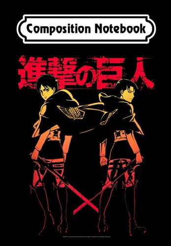 Composition Notebook: Attack on Titan Levi Eren Gradient with Japanese Logo, Journal 6 x 9, 100 Page Blank Lined Paperback Journal/Notebook