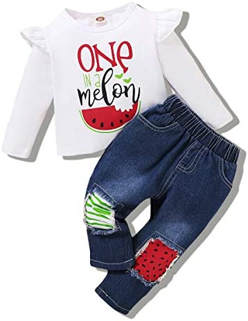 Baby Girl Clothes Long Sleeve Shirt Tops Letter Print Tops Jeans Pants Two Pieces 18 24 Months product image