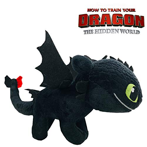 Play by Play HTTYD Dragons, como Entrenar a tu dragón - Peluche Desdentado (Toothless) Color Negro Calidad Super Soft 20cm (30cm Cola incluida) - 760017911