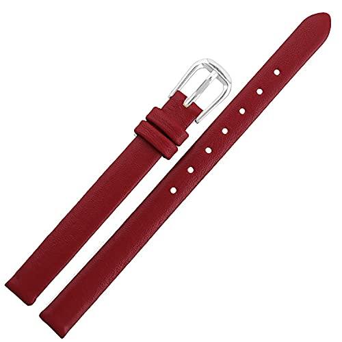 Chtom Correa de reloj de pulsera de cuero genuino para hombre con hebilla de acero inoxidable de 22 mm