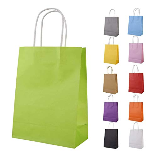 Beainfir 33 Stück Geschenktaschen Papiertüten Kraftpapier 22x8x16 cm Candy Tüten Partytüten mit Henkel für Partys, Hochzeiten, feiern und Süßigkeiten