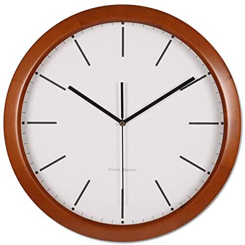 Tokyia Modern Reloj redondo, reloj de pared de cuarzo horometer de madera marco de la cubierta de vidrio decorativo horologe Cocina Sala de estar Dormitorio Baño Oficina-A 34x40cm (13x16inch) Adecuado