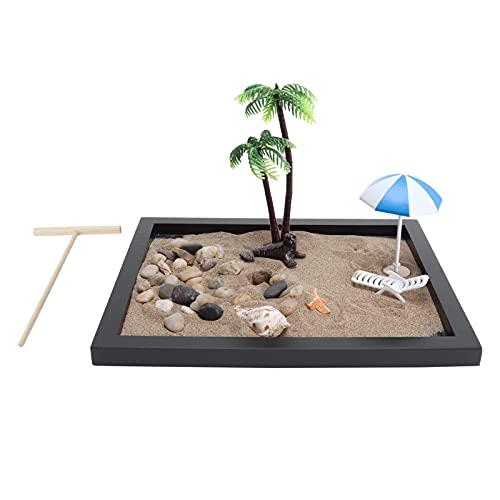 Hoseten Zen Garden para Escritorio, Kit de jardín Zen Zen Garden Sand Table Meditación Zen Garden Sand Table para hogar y Oficina