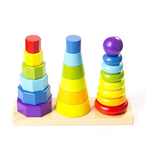 Fat Brain Toys Shape Tower - GeoPeg Stacking Tower Baby Toys & Gifts for Babies