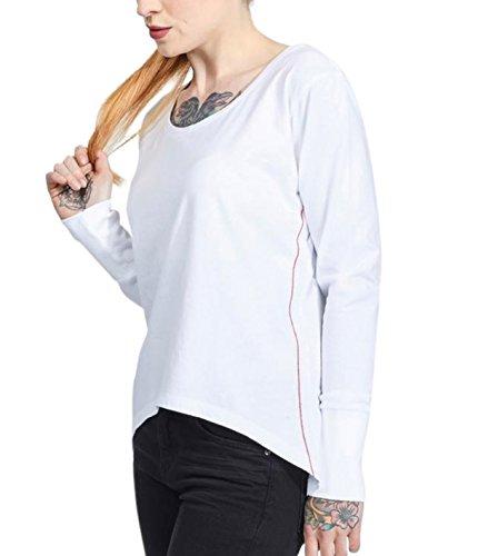 trueprodigy Casual Damen Marken Long Sleeve einfarbig Basic Oberteil Cool Stylisch Rundhals Langarm Slim Fit Top für Frauen, Größe:S, Farben:Weiß