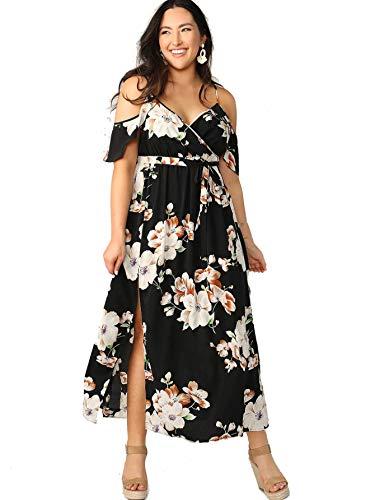 Milumia Women Plus Size Cold Shoulder Floral Maxi Bohemian Split Dress Black X-Large Plus