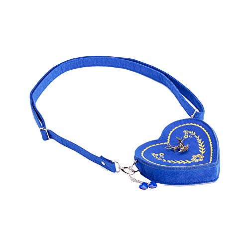 ASVP Shop Damen Oktoberfest Tasche - Herz Kostüm Tasche mit Edelweiss, Hirsch Brosche und Herz Blumen Stickerei - Schöne Handtaschen für das Oktoberfest Dirndl (Blau)