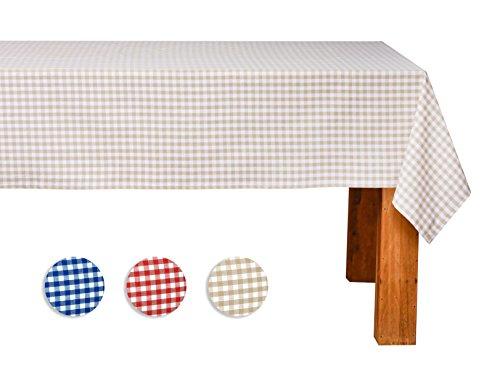 FILU Tischdecke 140 x 200 cm Beige/Weiß kariert (Farbe und Größe wählbar) - hochwertig gefertigtes Tischtuch aus 100% Baumwolle
