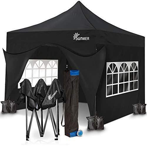 SUNMER 3x3M Pop-Up Gazebo With 4 Sides, Heavy Duty Steel Frame, Fully Waterproof, Wheeled Bag Included For Easy Transportation. BLACK