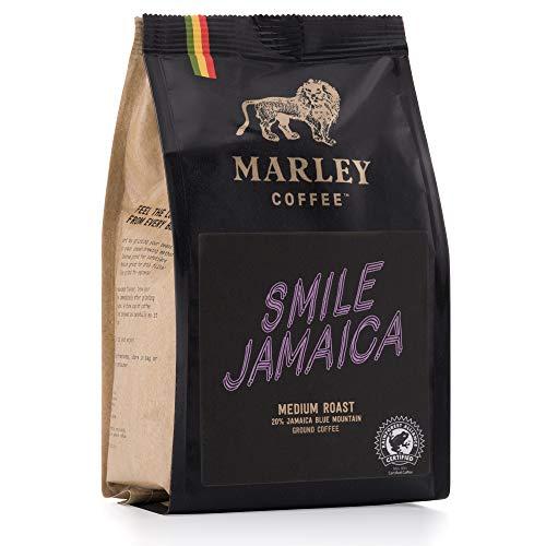 Smile Jamaica Mittlere Röstung Gemahlener Kaffee, 20% Jamaica Blue Mountain Kaffee Mischung,Marley Coffee, aus der Familie von Bob Marley, 227g