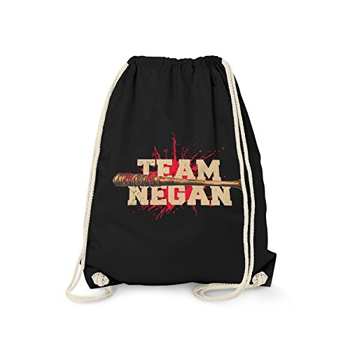 Fashionalarm Turnbeutel - Team Negan | Rucksack zur Serie T-W-D als Geschenk Idee für Fans | Dead Walking Lucille The Saviors, Farbe:schwarz