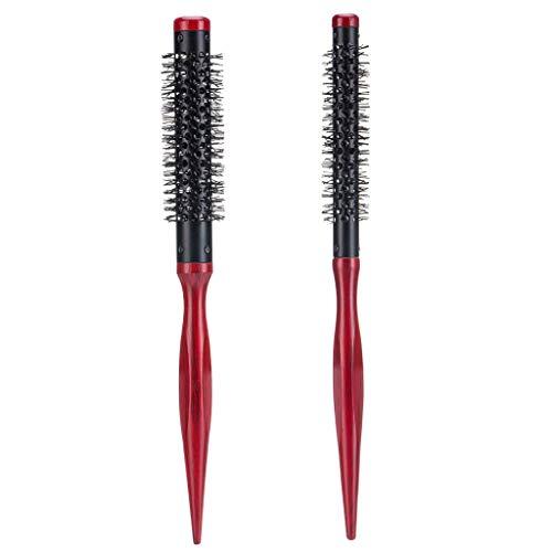Inzopo 2 unids/set pequeño mini cepillo de pelo redondo resistente al calor cerdas de nylon, pelo corto soplado secado estilo rollo cepillo 15mm 12mm