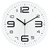 ZYDSN Numerales Arábigoscuarzo Redondo No-Tickingarte Original Moderno Decorativo Negro Reloj De Pared Y Blanco Minimalista Apto para Sala Estar,Blanco