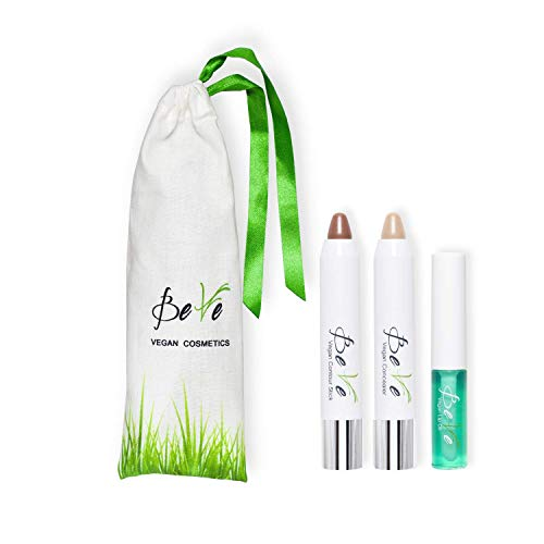 BeVe - Kit de maquillaje vegano con aceite labial, corrector y contorno