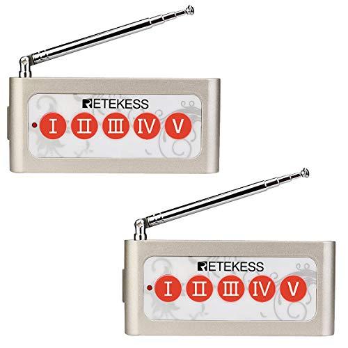 Retekess TD005 Kelner Oproepsysteem Drukknop Lange Afstand 5-Sleutel Compatibel met 433 MHz Ontvanger Restaurant Private Room Lounge Buiten voor de Klant Om de Ober te Bellen (2 Stuks)