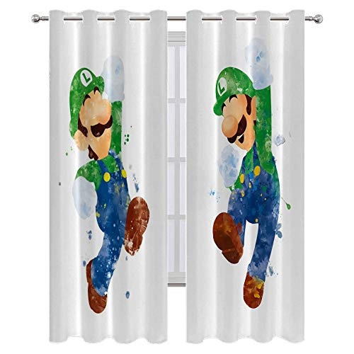 SSKJTC Decoración creativa para el hogar, sala de estar, diseño de Super Mario Bros animando Pose Art Impreso Sala de estar Dormitorio Cortinas de 137 cm de ancho x 96 cm de largo