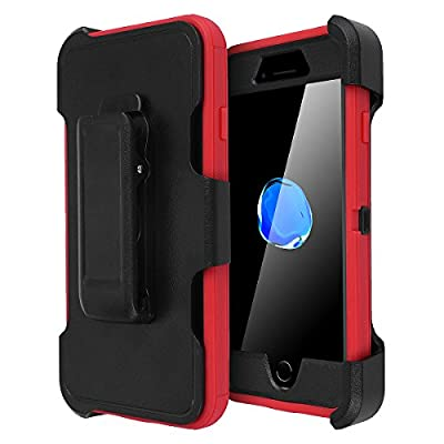 iPhone 8 Plus/7 Plus Case, AICase [Heavy Duty] [Full Body] Tough 4 in 1 Rugged Shockproof Cover with Built-in Screen Protector for Apple iPhone 8 Plus/7 Plus (Black/Red+Belt Clip)