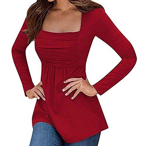 Mode Femme Sexy Casual Col Carré Couleur Unie sans Bretelles Manches Longues Slim Chic Pullover T Shirt Tops Simple Blouse feiXIANG (Rouge,L)