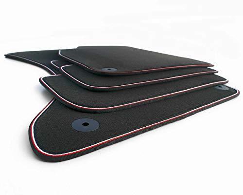kh Teile Fußmatten A4 S4 RS4 Allroad 8K B8 / A5 Sportback 8T Original Premium Qualität Velours Autoteppich 4X anthrazit, Webrand Weiß Rot