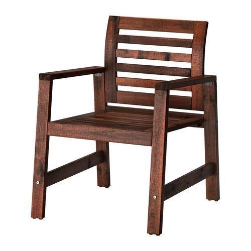 ÄPPLARÖ - Stuhl mit Armlehnen, Outdoor, braun gebeizt