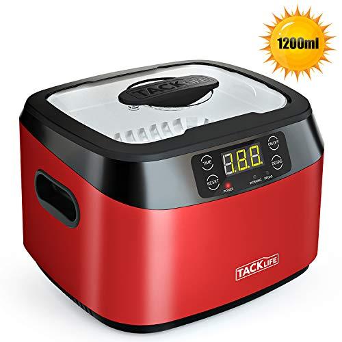 Nettoyeur à ultrasons 1200ml, Tacklife Machine à Nettoyer Domestique MUC01 avec Fonction de Dégazage 60W, 40KHZ, Acier INOX, 5 Réglages de Temps, Capteur d'Alliage