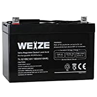 Weize 12V 100AH Deep Cycle AGM SLA VRLA Battery for Solar System RV Camping Trolling Motor, in Series 24V 36V 48V