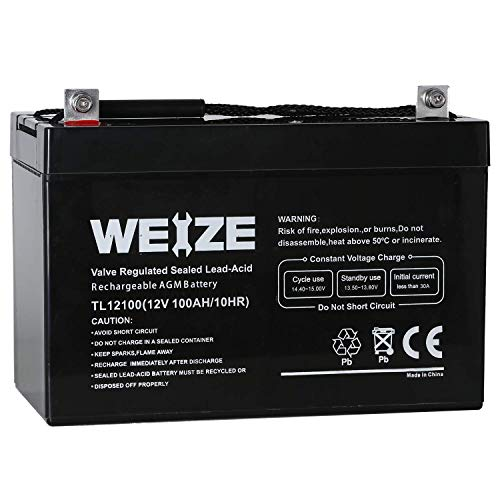 Weize 12V 100AH Deep Cycle AGM SLA VRLA Battery for Solar System RV Camping Trolling Motor, in...
