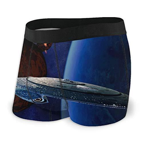 Star Trek Herren-Unterwäsche, Stretch, Boxershorts für Herren, kurze Beine, atmungsaktiv, bequeme Fasern Gr. L, Schwarz