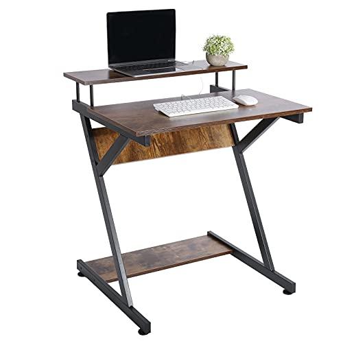 Escritorio de ordenador en forma de Z, escritorio con estantería, mesa de estudio industrial rectangular para oficina, dormitorio, sala de estudio, 60 x 70 x 73 cm