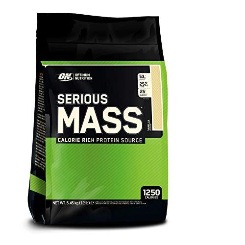 Optimum Nutrition ON Serious Mass proteina en polvo mass gainer alto en proteína, con vitaminas, creatina y glutamina, vainilla, 16 porciones, 5.45 kg