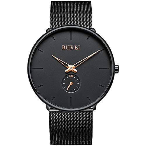 BUREI Orologio da polso unisex ultra sottile nero quadrante minimalista elegante al quarzo analogico con cinturino a maglie in acciaio inossidabile nero