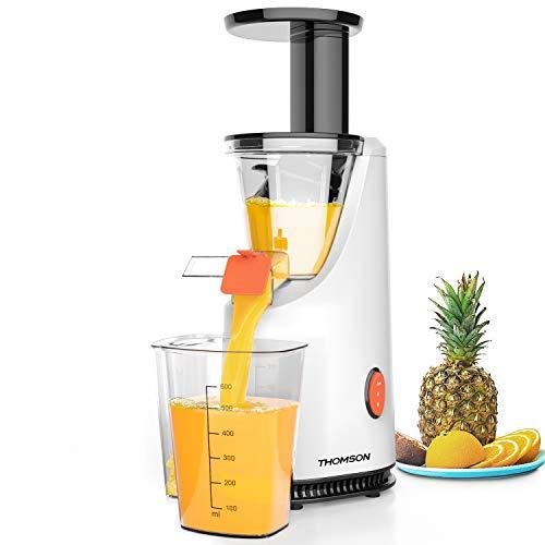 THOMSON Slow Juicer Entsafter für Gemüse & Obst - Saftpresse elektrisch, elektrische Saft Maschine mit langsamer Pressfunktion, Saftmaschine für ganze Früchte, Weiß
