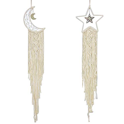 Rozwkeo 2 Pcs Macrame Wall Hanging Woven Star Moon Dream Catcher Tapestry Boho Chic Bohemian Home...