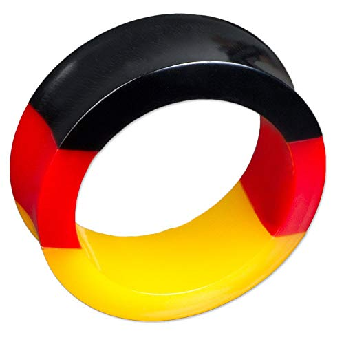 viva-adorno® 1 Stück Tube Tunnel Ohr Piercing Deutschland Flagge Fußball Fan Weltmeisterschaft Größe 6-30mm Z415, Tunnel 14mm