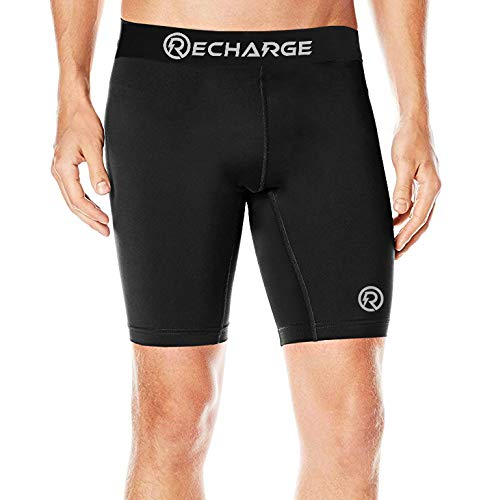 ReDesign Apparels Recharge Men's Polyester Compression Shorts (Small, Black)