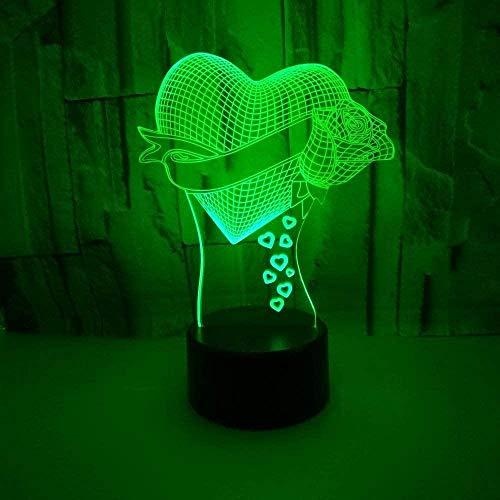 Love Rose Lámparas de ilusión óptica 3D Luz de noche LED con 16 colores cambiantes y control remoto Decoración del dormitorio Lámpara de mesa Regalos de cumpleaños y Navidad para niños