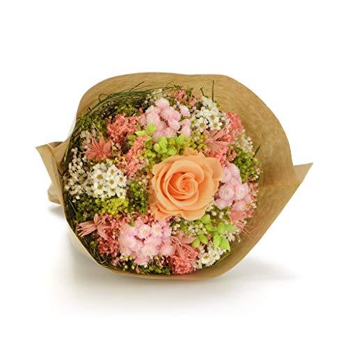Bouquet Garden-Sanremo flores secas de la Riviera dei Fiori Italia con rosa preservado. (Melocotón)