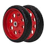 COSCO 12099FFR2E 10 Inch Low Profile Replacement Hand Trucks, Flat-Free, (Red, 2 Pack) Wheels