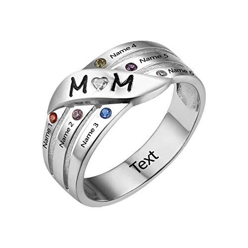 Anillo de nombre Anillo familiar personalizado Grabado 6 Anillo de nombre y piedra de nacimiento Anillo de madre(Plata 22)
