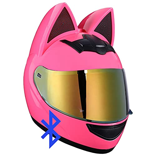 Personalized Cat Ear bluetooth Motorcycle Helmet, Men and Women Cool Cat Locomotive Motorcycle Full Face Helmet, DOT/ECE Certification Standard, Suitable for All Seasons,#14,S
