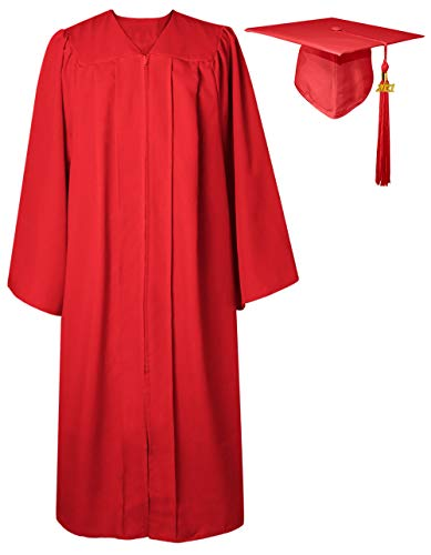GraduatePro Toga Laurea con Cappello 2021 Adulto Donna Uomo Costume università Scuola Superiore Dottorato Master Rosso
