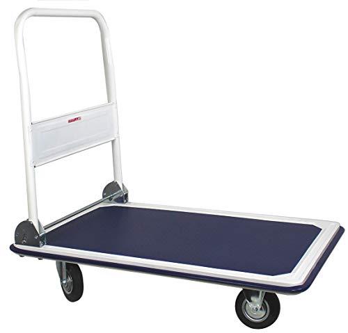 Chariot plateforme à dossier pliable - charge max. 300 kg - chariot à roulettes professionnel pliant - avec roues en caoutchouc dont 2 fixes et 2 pliables