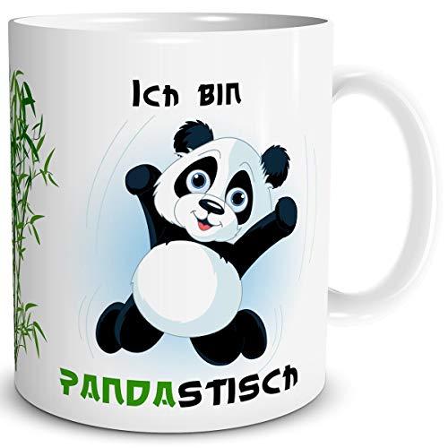 TRIOSK Pandabär Tasse Panda mit Spruch lustig Pandastisch Bären Geschenk Pandaliebe für Arbeit Büro Kollegin Frauen Freundin Pandaliebhaber
