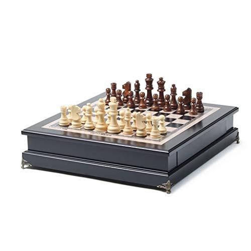 COTEN Ajedrez Internacional Juego de ajedrez de Madera, Juego de Mesa de ajedrez con Almacenamiento Interior portátil Tablero de Juego de ajedrez for niños for niños Principiantes y Adultos