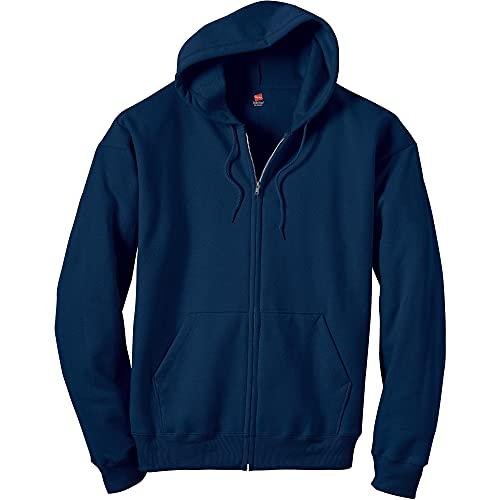 Hanes Men's Full-Zip Eco-Smart Hoodie, Navy, Medium
