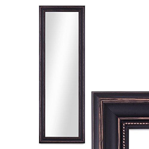 PHOTOLINI Wand-Spiegel 40x100 cm im Massivholz-Rahmen Landhaus-Stil Dunkelbraun/Spiegelfläche 30x90 cm